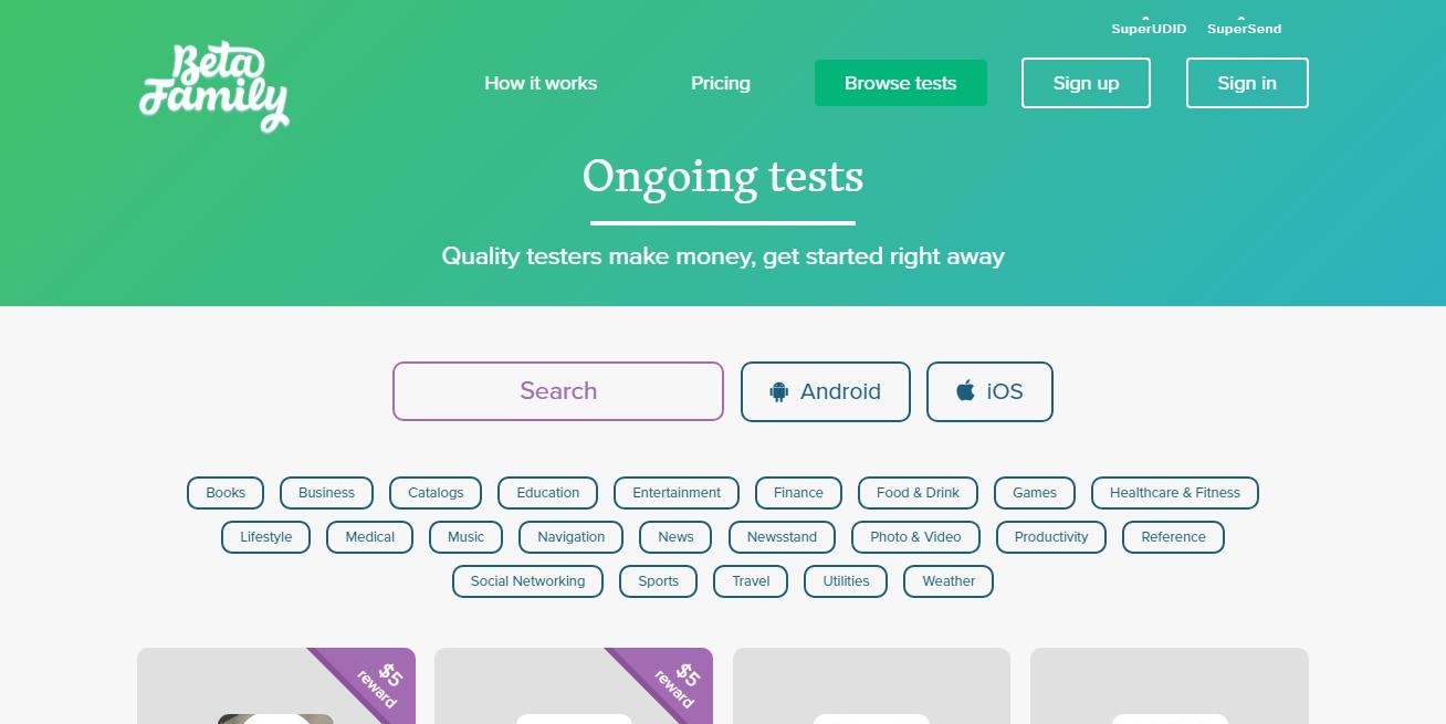 Beta family Usertesting Panel- Make Money Testing Apps