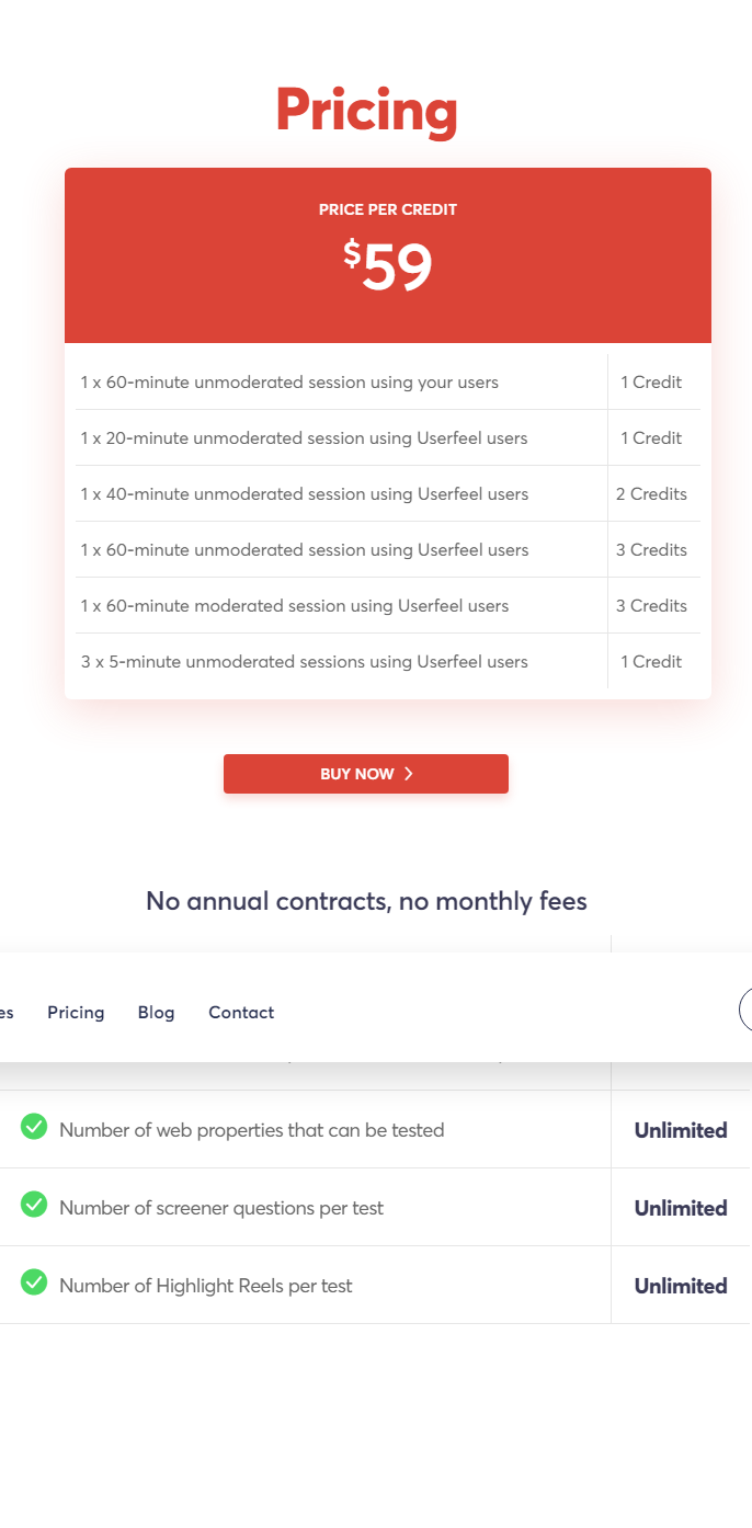 Userfeel Review: Pricing